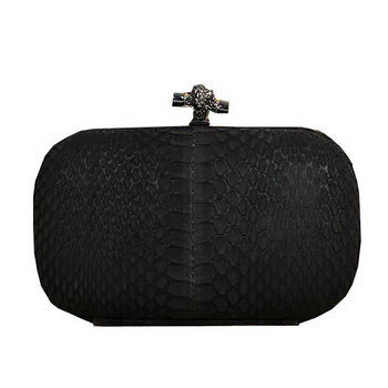 Bottega Veneta intrecciato python vein leather impero ayers knot clutch 11308 black